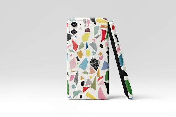 Terrazzo Phone Case, Colourful Device Cover - White Terrazzo