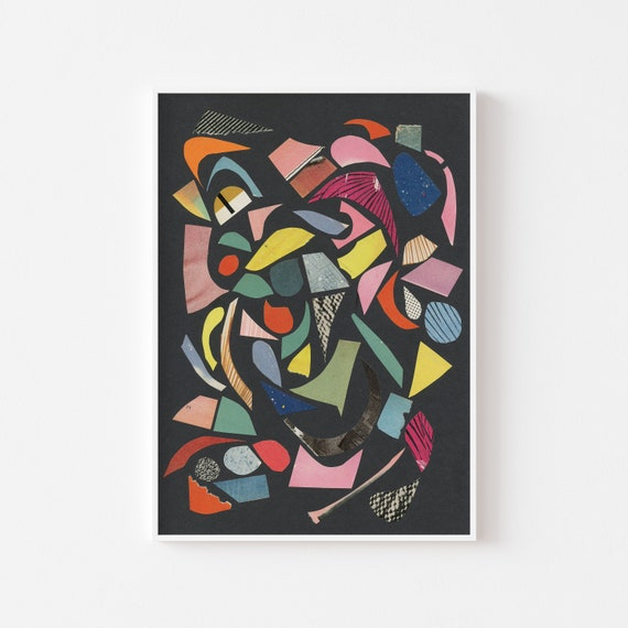 Abstract Wall Art, Terrazzo Decor, Colourful Wall Art - Black Terrazzo