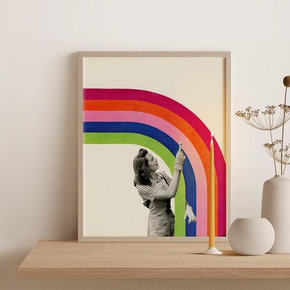 Framed Rainbow Print, Colourful Wall Art, Ready to Hang Portrait - Paint a Rainbow