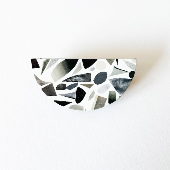 Wood Abstract Badge, Black and White Pin, Modern Brooch