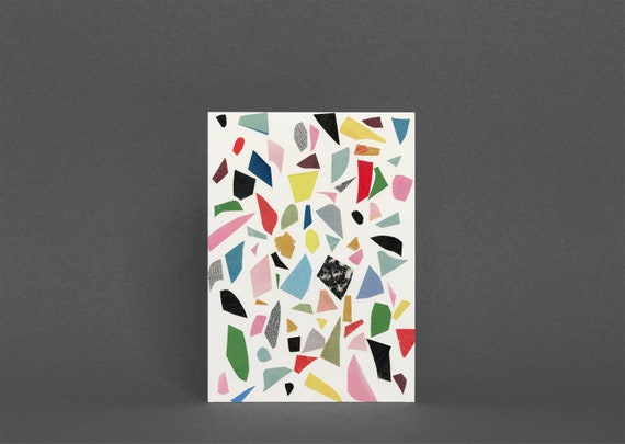 Abstract Card, Blank Greetings Card, Colorful Art Card - White Terrazzo