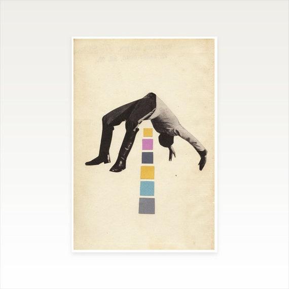 A3 Male Portrait Print, Surreal Art, Clearance Sale - High Jump