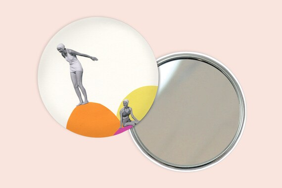 Retro Pocket Mirror 76mm / 3 inches - Cliff Diving