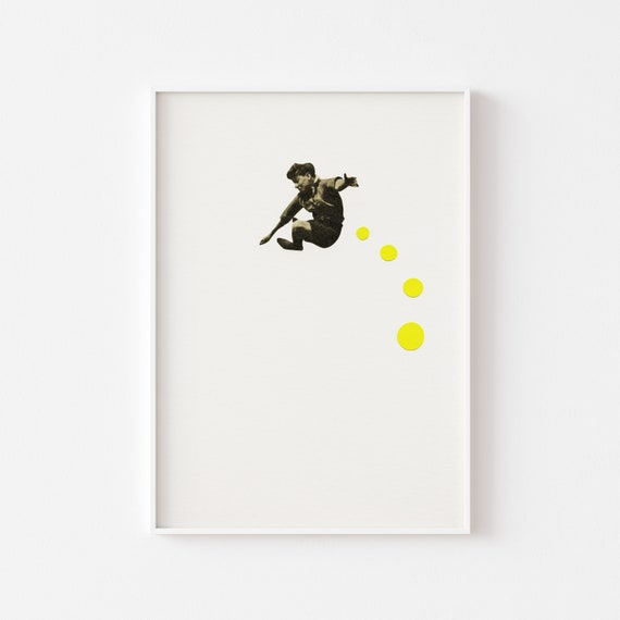 Child Portrait, Pop Art Poster, Mid Century Wall Art - How High Can You Jump?