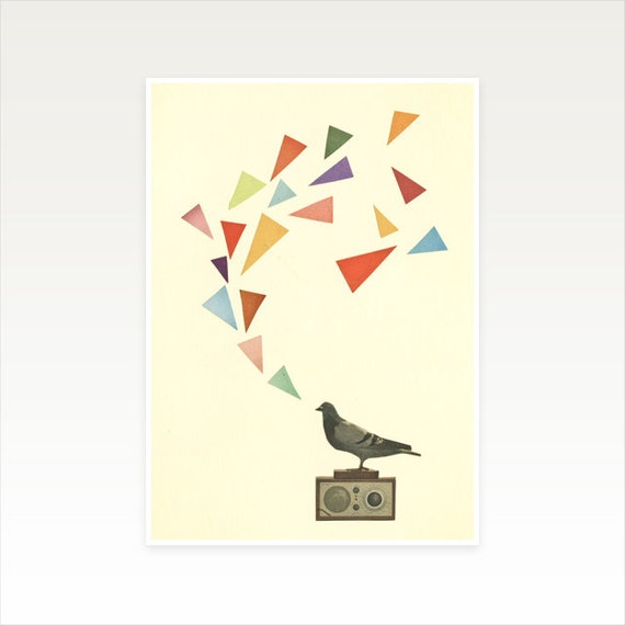 A4 Bird Print, Music Wall Art, Clearance Sale - Pigeon Radio