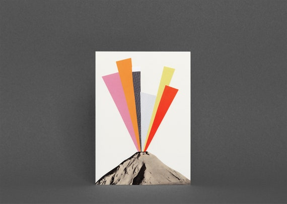Volcano Card, Greetings Card for Man, Blank Any Occasion Card - Eruption