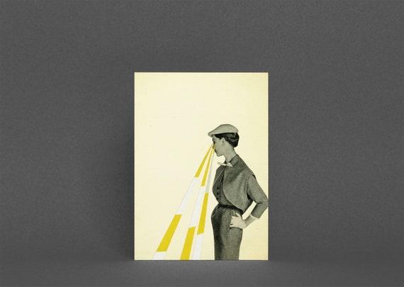 Female Portrait Card, Card for Girlfriend - Observing