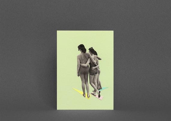 Blank Greetings Card - Beach Belles