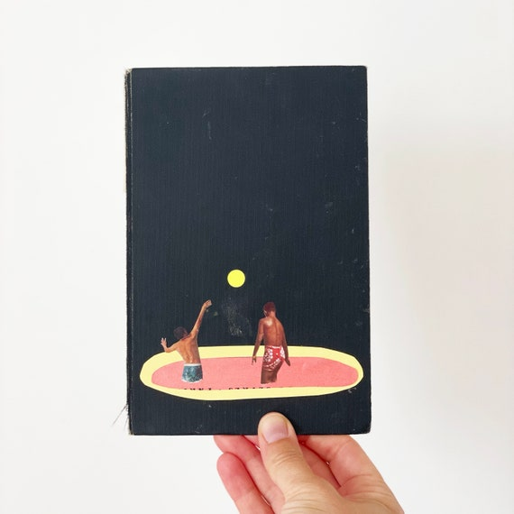 Original Collage Art on Book Cover - Pool Games