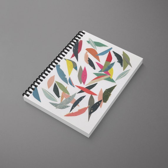 Abstract Leaf Spiral Notebook - Falling Leaves (White)