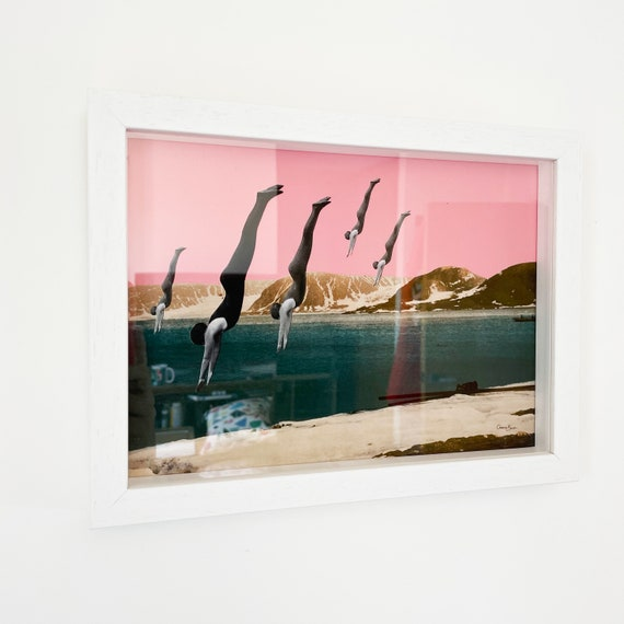 SALE Framed Mountain Print in Pink and Teal - Dive