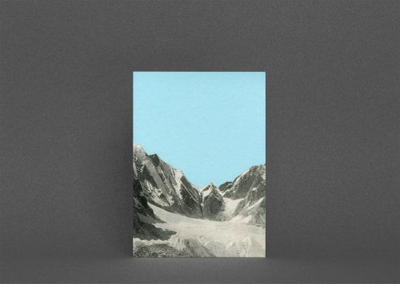 Mountain Card, Blank Greetings Card - Blue Skies