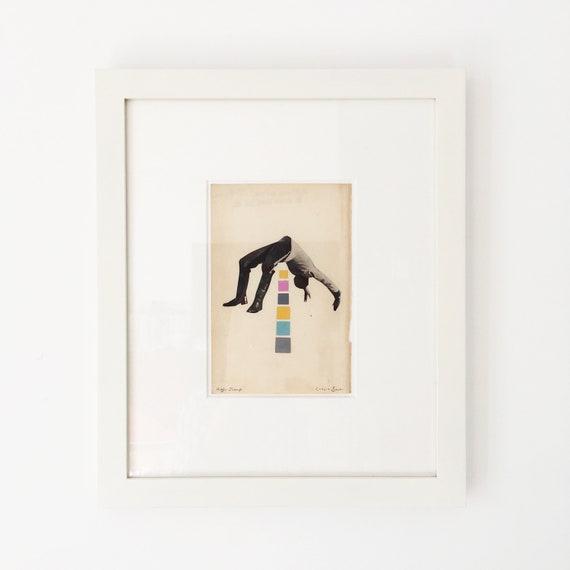 Framed Original Collage Portrait Art - High Jump