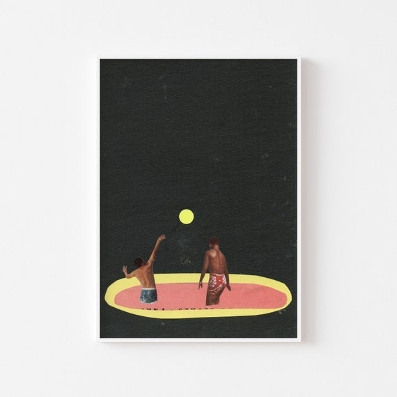 Swimming Pool Print, Male Portrait Art - Pool Games