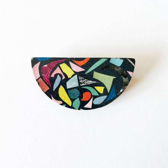Wood Abstract Badge, Terrazzo Jewellery, Modern Brooch