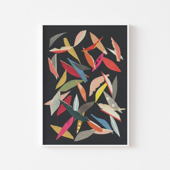 Abstract Leaf Print, Colourful Wall Art - Falling Leaves (Black)