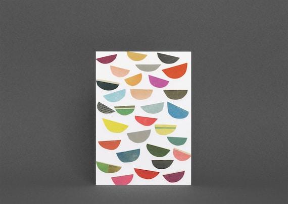 Colourful Abstract Card, Blank Greetings Card - Falling Petals