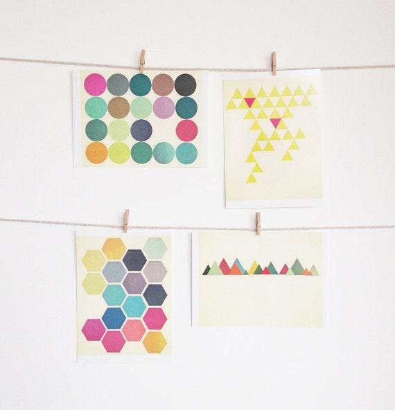 Postcard Set, Geometric Art, Teacher Gifts - Geometric