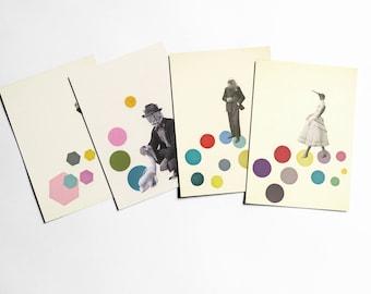Animal Postcard Set, Modern Stationery, Anthropomorhic Art - Animal People