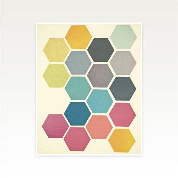 A3 Honeycomb Wall Art, Geometric Decor, Clearance Sale - Honeycomb II