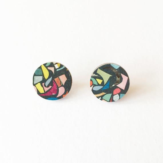 Round Wood Earrings - Black Terrazzo