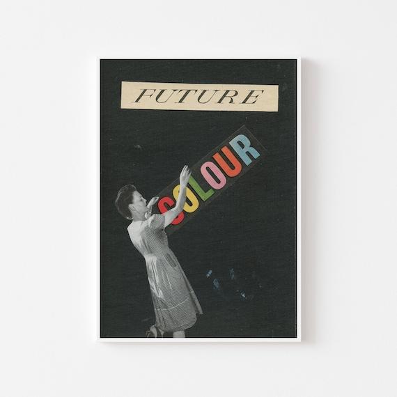 Mid Century Print, Female Portrait Art - Future Colour