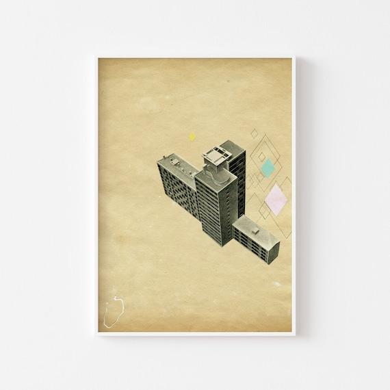 Architecture Print, Modernist Art, Mid Century Art, Gifts for Men - The Modern World