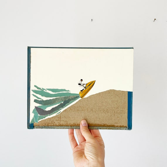 Original Collage on Vintage Book Cover - Jet Ski