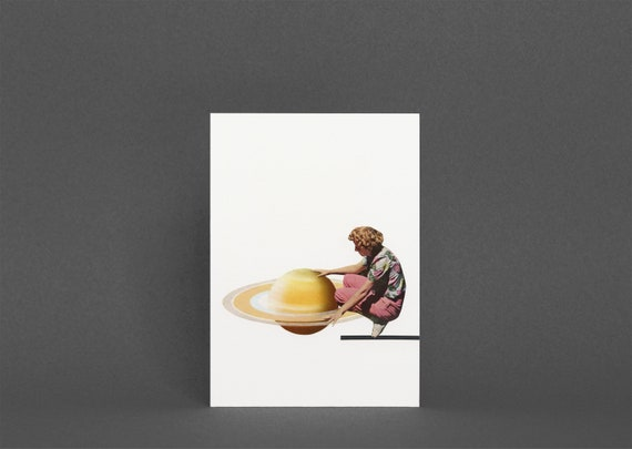 Space Birthday Card, Planet Greetings Card - Servicing Saturn