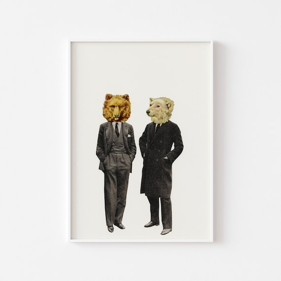 Bear Print, Anthropomorphic Art, Gifts for Men - The Likely Lads