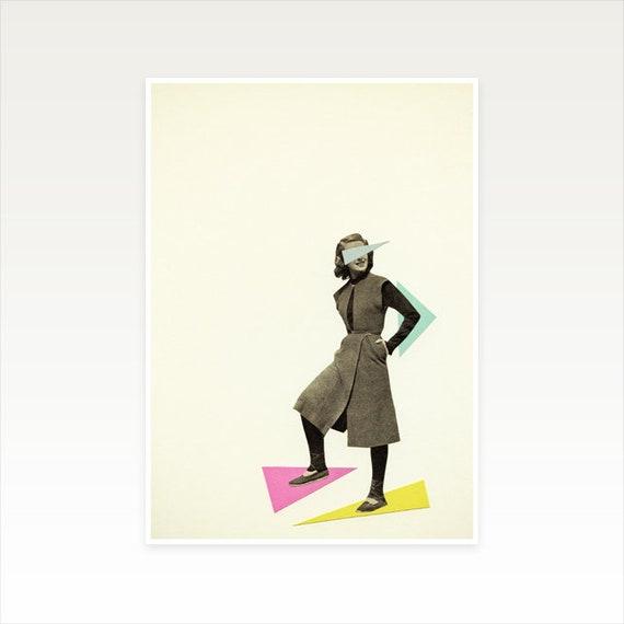 A5 Abstract Portrait Art, Geometric Decor, Clearance Sale - Shapely Figure