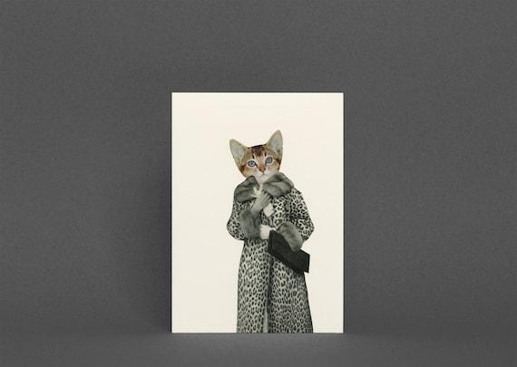 Cat Greeting Card - Kitten Dressed as Cat