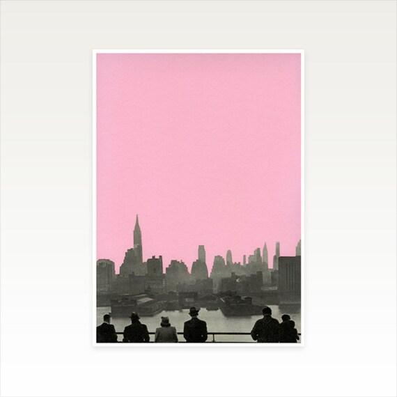 A4 New York Skyline Print, Pink Wall Art, Clearance Sale - New York Nights
