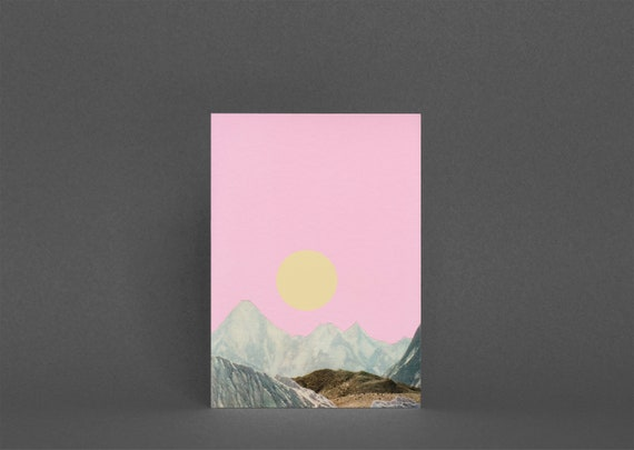 Pink Mountain Card, Landscape Greetings Card - Late Summer Sun