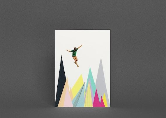 Mountain Card, Surreal Collage Art, Blank Greetings Card - Mountain Jump