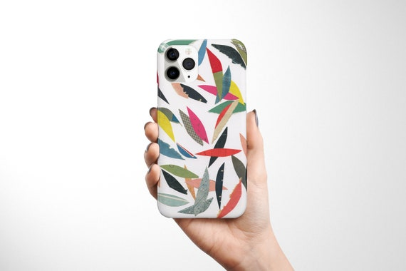 Abstract Leaf Phone Case, Contemporary Device Cover - Falling Leaves (White)