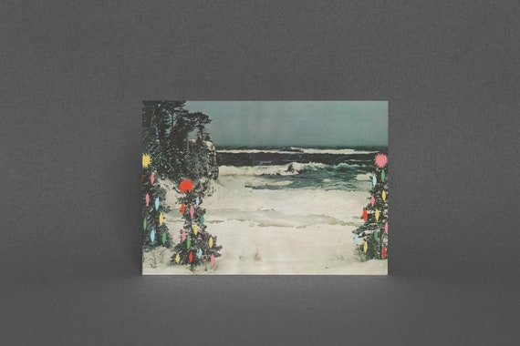 Christmas Card Pack, Vintage Holiday Card - Christmas Beach