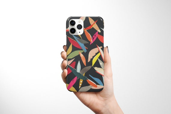 Abstract Leaf Phone Case, Contemporary Device Cover - Falling Leaves (Black)