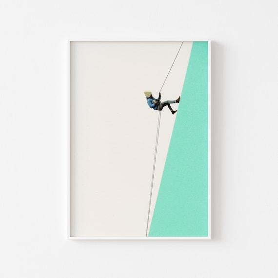 Mountain Print, Mountaineering, Explorer Prints, Minimalist Art - Descent
