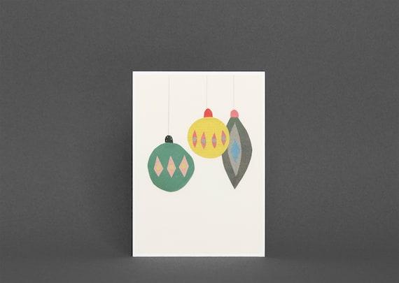 Christmas Card Pack, Mid Century Art, Blank Greetings Card - Baubles