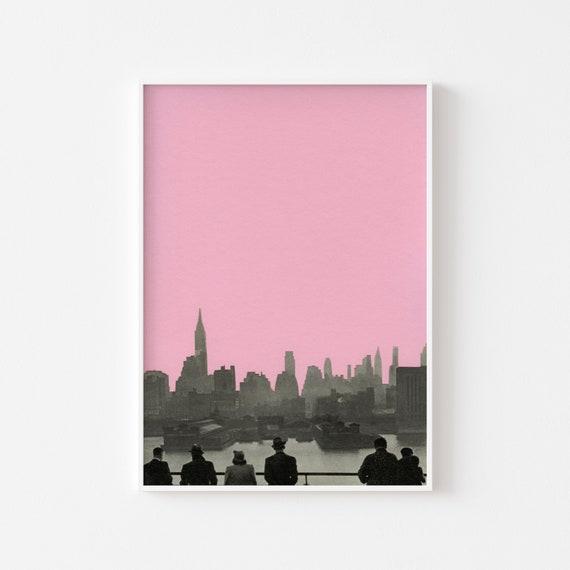 New York Print, Pink Wall Art, Minimalist Art, City Art - New York Nights