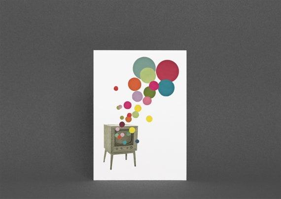 Retro Birthday Card, Housewarming Card - Colour Television