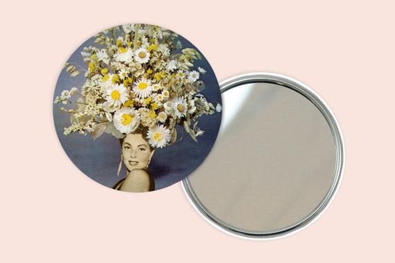 Flower Portrait Pocket Mirror 76mm / 3 inches - Floral Fashions