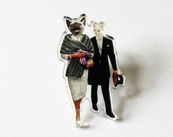 Cat Acrylic Pin Badge, Stocking Stuffer - Cat Lovers