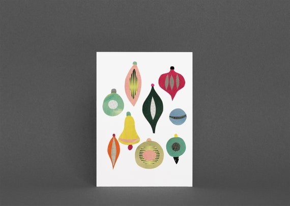 Christmas Card Pack, Mid Century Art, Blank Greetings Card - Christmas II