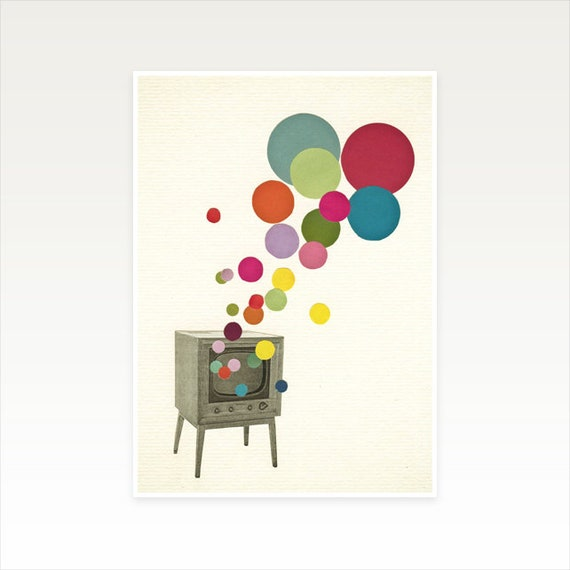 A3 Television Print, Retro Wall Art, Mid Century Decor, Sale Items - Colour Television
