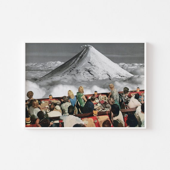 Volcano Print, Surreal Landscape Print, Collage Art Print - Prime Location