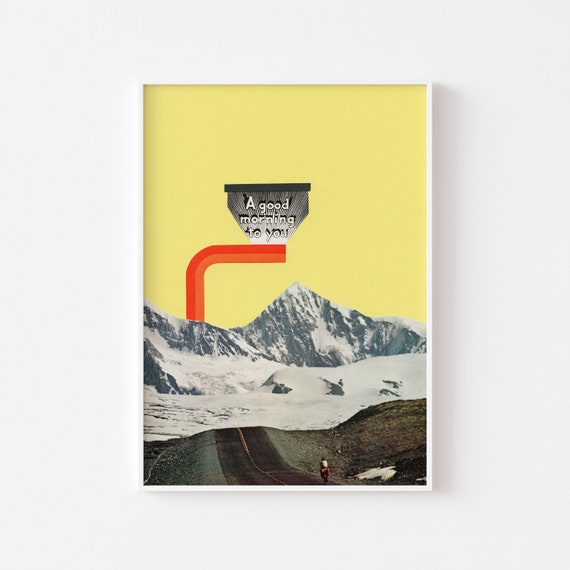 Mountain Art, Surreal Print, Cycling Gift - A Good Morning To You