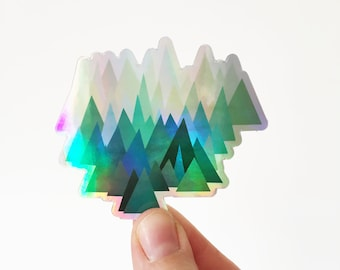 Holographic Mountain Sticker, Art Sticker, Device Decal - Cold Mountain