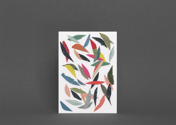 Abstract Leaf Card, Blank Greetings Card, Colorful Art Card - Falling Leaves (White)